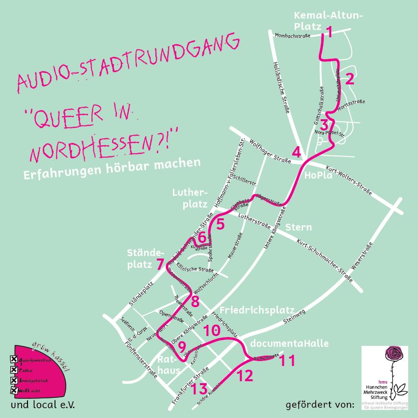 """Auf dem Bild steht: Audio-Stadtrundgang """"Queer in Nordhessen?!"""" Erfahrungen hörbach machen. Darunter ist eine Karte von der Kasseler Innenstadt. Die Rundgangsstrecke ist pink eingezeichnet. Klicke auf das Bild, um zur interaktiven karte zu gelangen. Die ist nicht barrierefrei."""